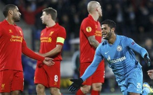 Hulk (in blue) will be a main concern for Liverpool defenders on Thursday. Photo: The Telegraph