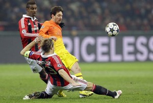Milan defenders dealt well with Messi (in orange) in the first game. Can they do that again?